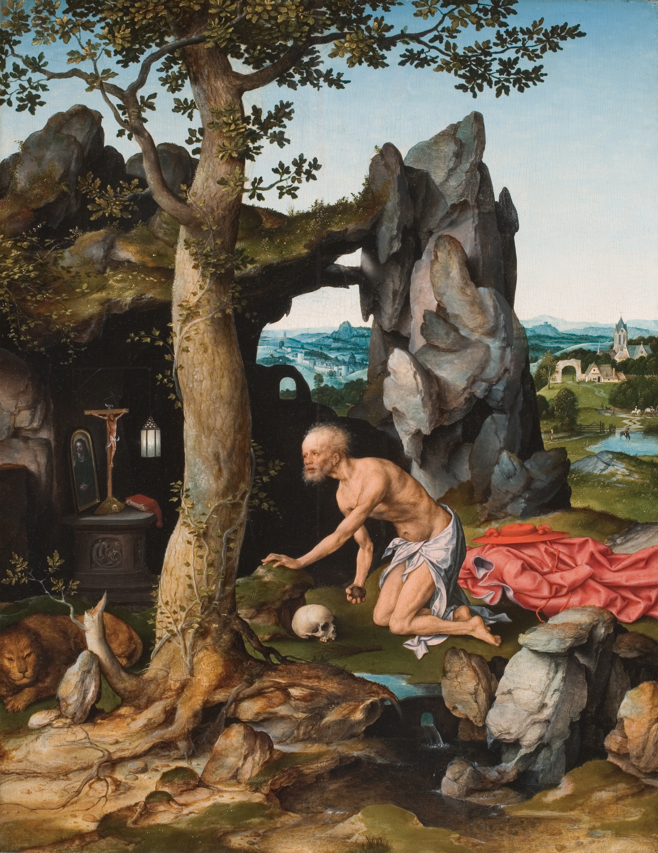 Joos van Cleve Flemish, ca. 1485-ca. 1540 St. Jerome in Penitence Oil on wood panel, circa 1516-18 Hackley Picture Fund Purchase 1940.47