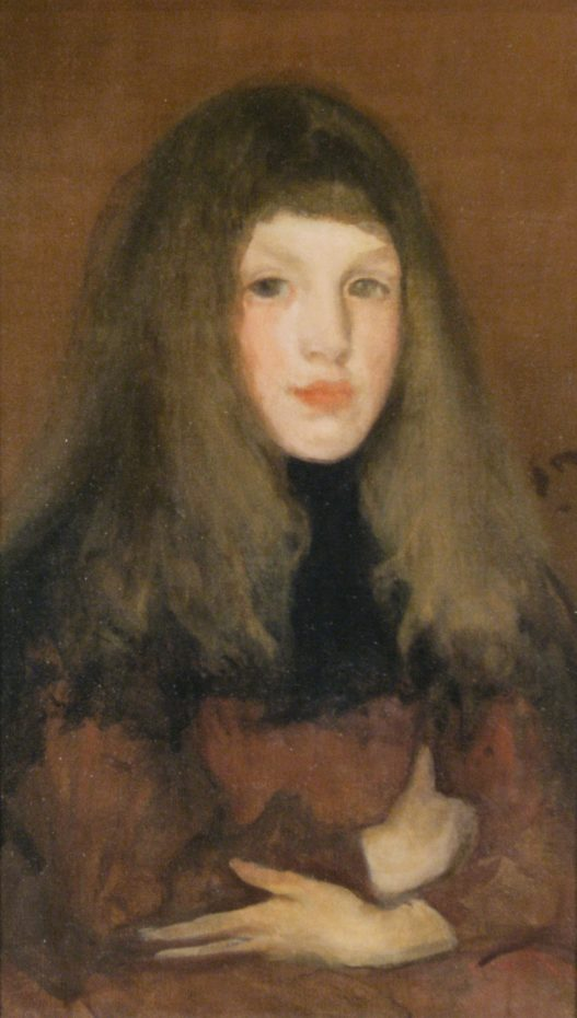 James Abbott McNeill Whistler American, 1834-1903 A Study in Rose Brown oil on canvas circa 1895 Muskegon Museum of Art Hackley Picture Fund Purchase 1914.21